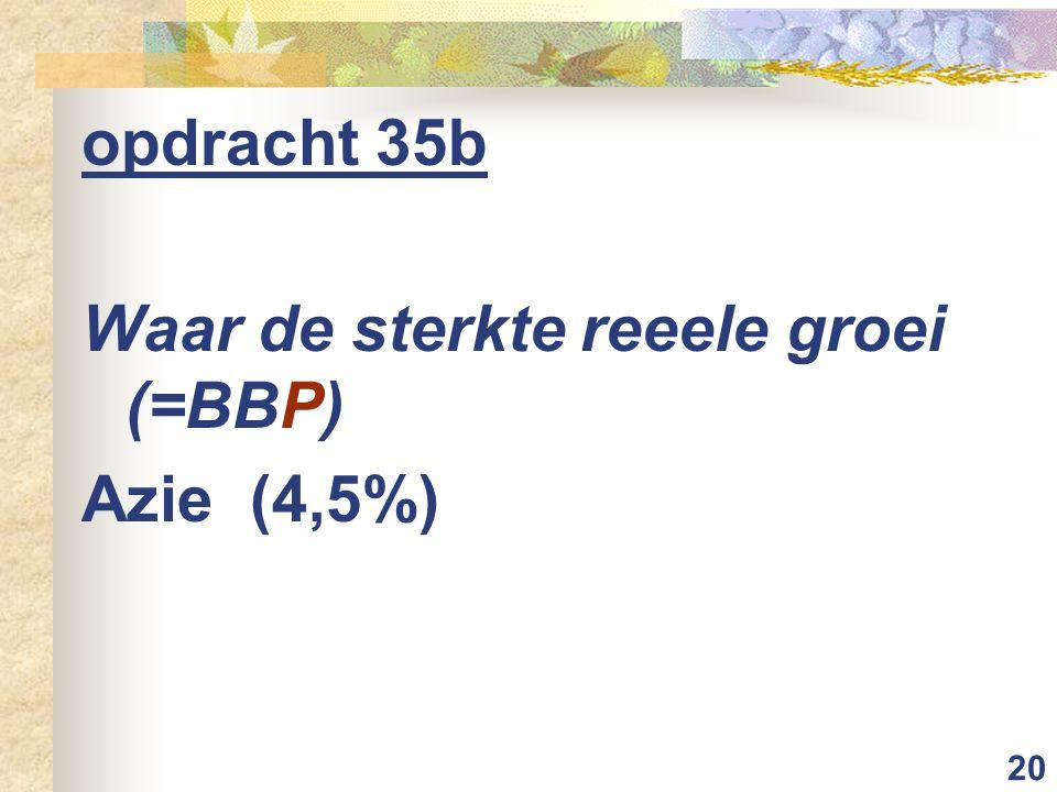 20 opdracht 35b Waar de sterkte reeele groei (=BBP) Azie (4,5%)