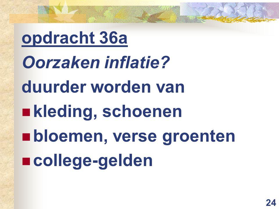 24 opdracht 36a Oorzaken inflatie? duurder worden van kleding, schoenen bloemen, verse groenten college-gelden