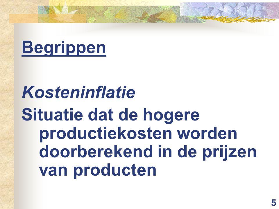 5 Begrippen Kosteninflatie Situatie dat de hogere productiekosten worden doorberekend in de prijzen van producten