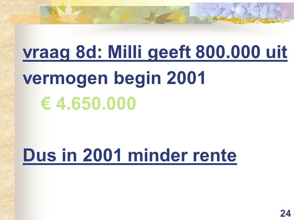 24 vraag 8d: Milli geeft 800.000 uit vermogen begin 2001 € 4.650.000 Dus in 2001 minder rente