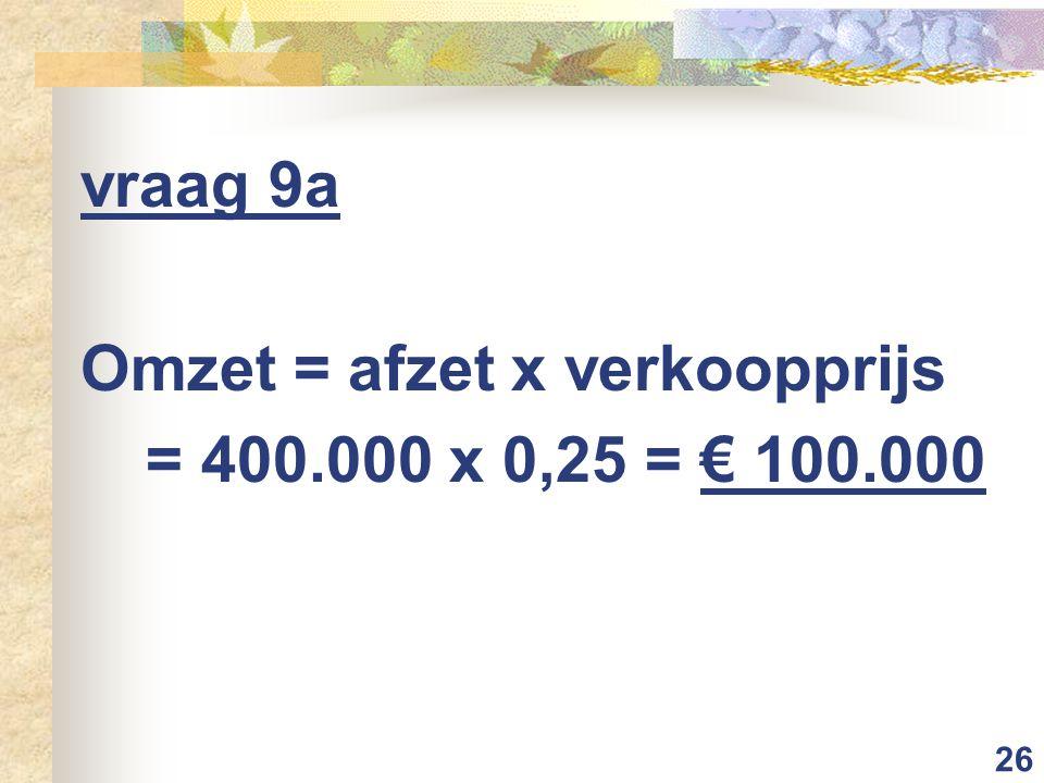 26 vraag 9a Omzet = afzet x verkoopprijs = 400.000 x 0,25 = € 100.000