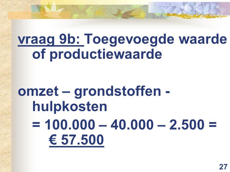 27 vraag 9b: Toegevoegde waarde of productiewaarde omzet – grondstoffen - hulpkosten = 100.000 – 40.000 – 2.500 = € 57.500
