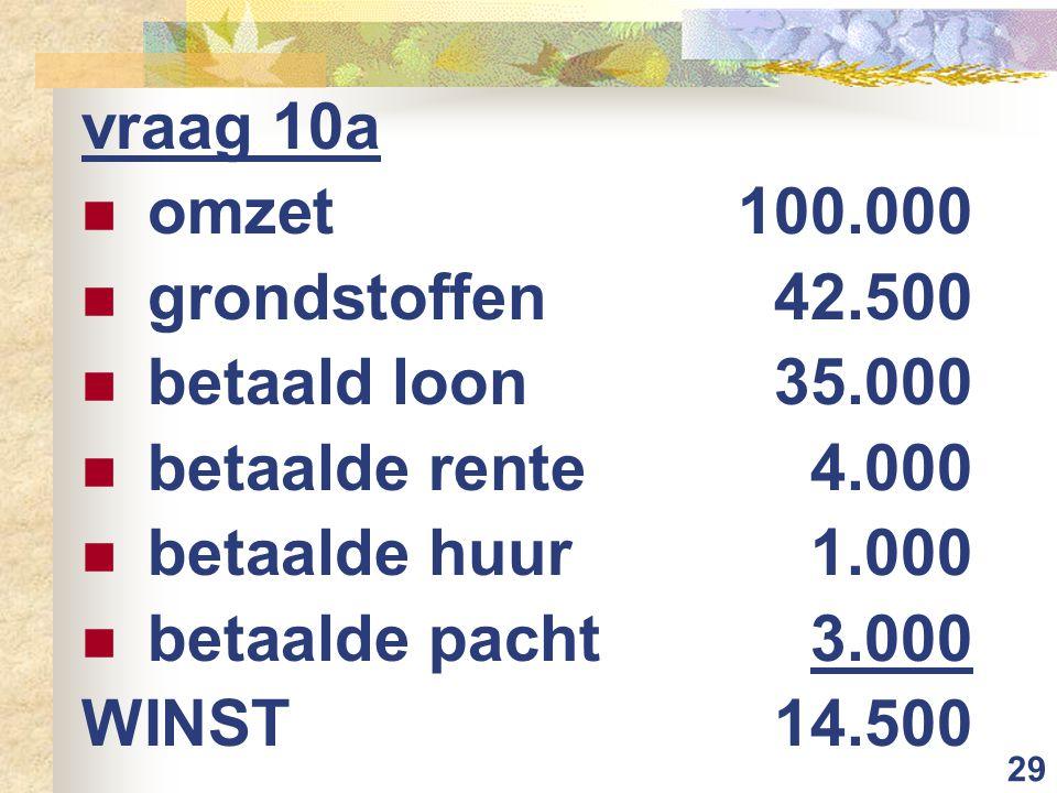29 vraag 10a omzet 100.000 grondstoffen 42.500 betaald loon 35.000 betaalde rente 4.000 betaalde huur 1.000 betaalde pacht 3.000 WINST14.500
