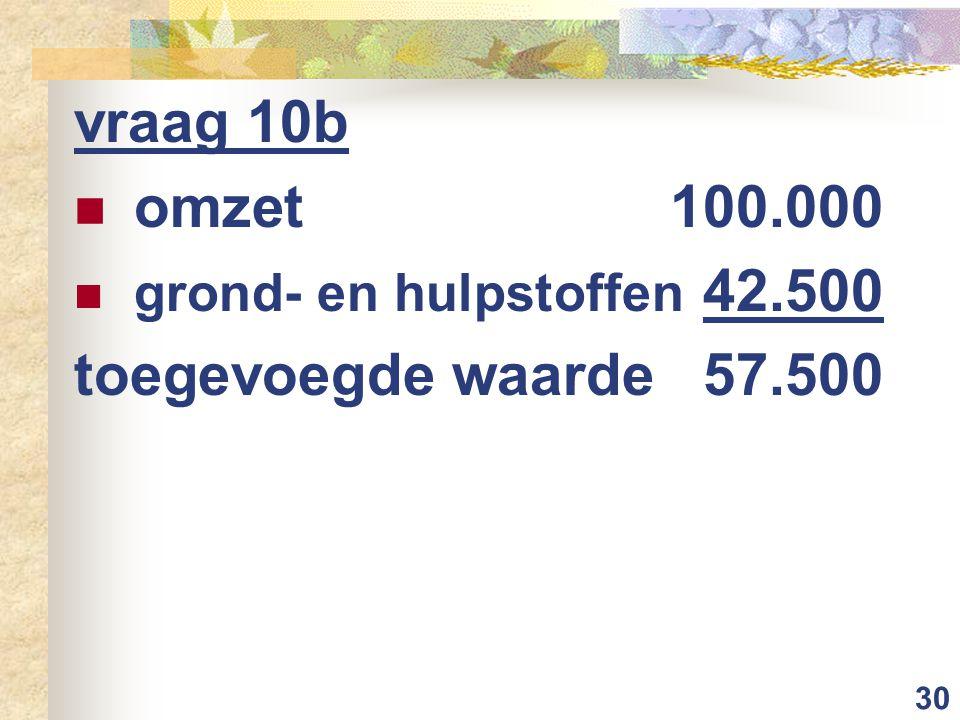 30 vraag 10b omzet 100.000 grond- en hulpstoffen 42.500 toegevoegde waarde57.500