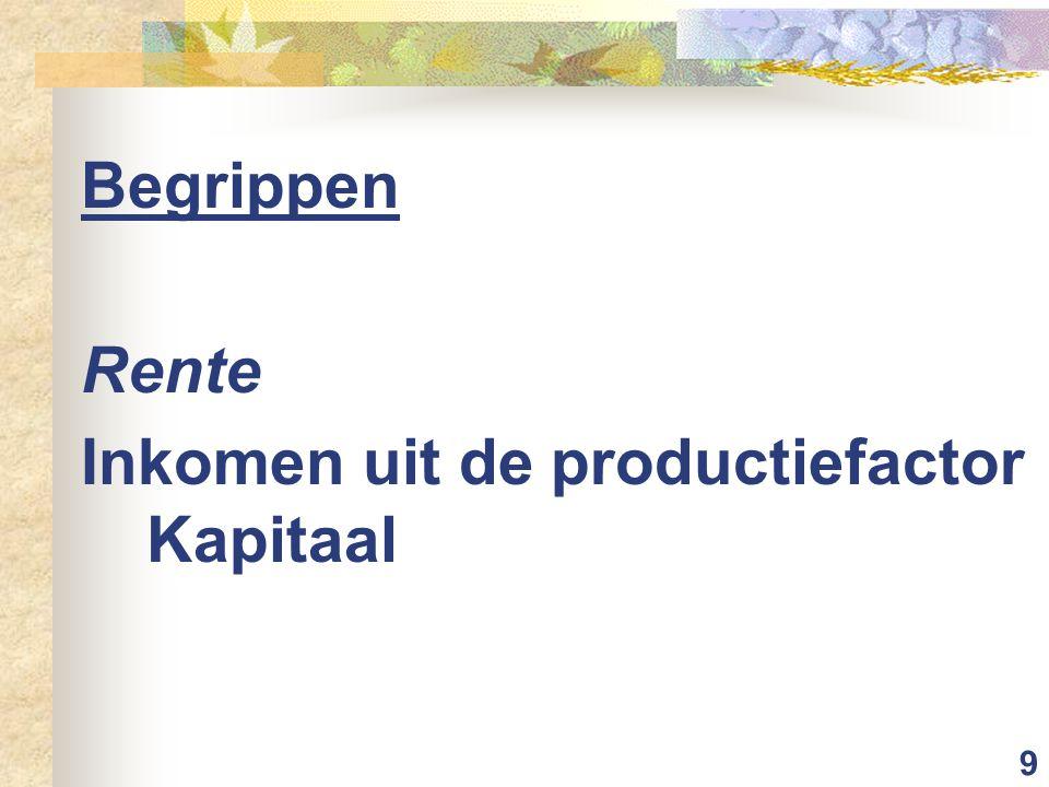 9 Begrippen Rente Inkomen uit de productiefactor Kapitaal