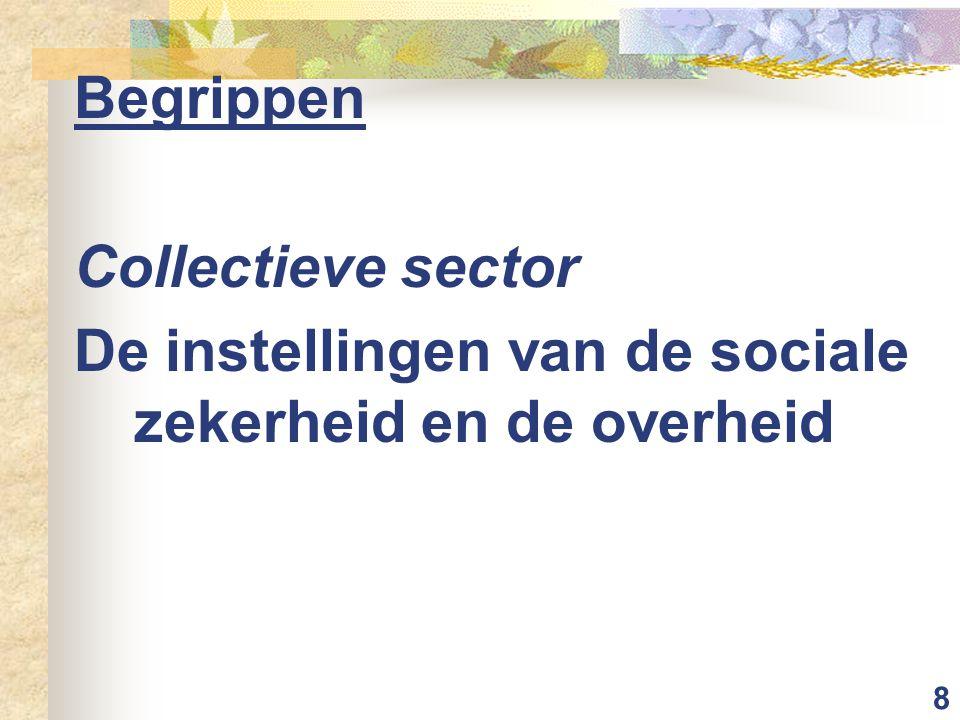 8 Begrippen Collectieve sector De instellingen van de sociale zekerheid en de overheid