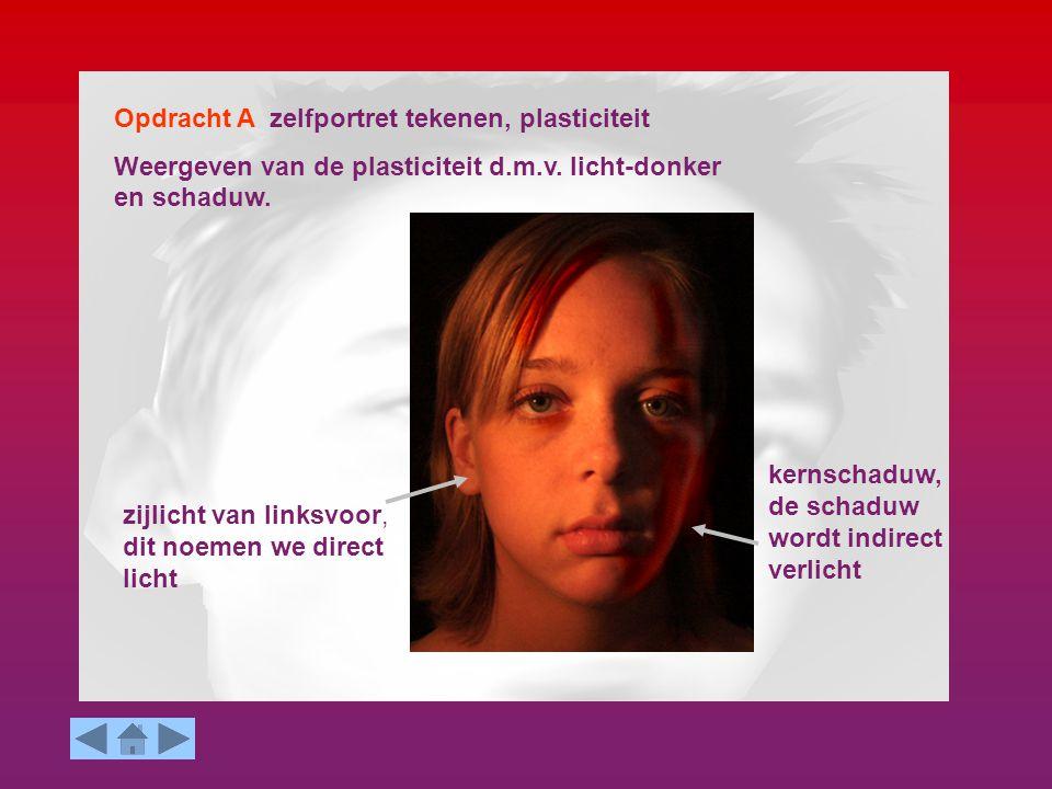 Opdracht A zelfportret tekenen, plasticiteit Weergeven van de plasticiteit d.m.v.