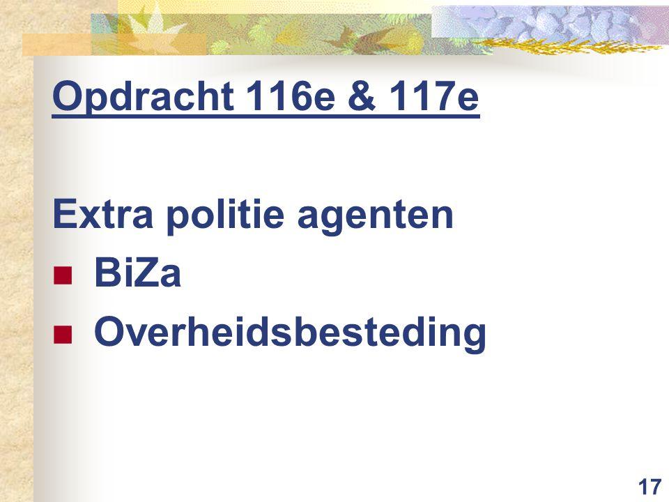 17 Opdracht 116e & 117e Extra politie agenten BiZa Overheidsbesteding