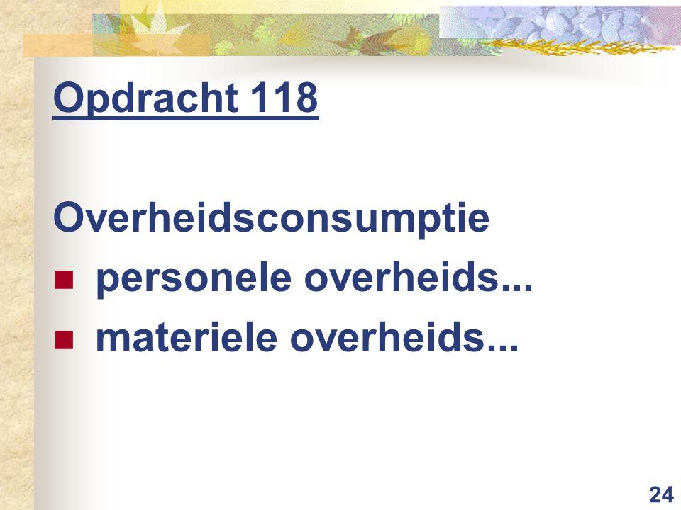 24 Opdracht 118 Overheidsconsumptie personele overheids... materiele overheids...