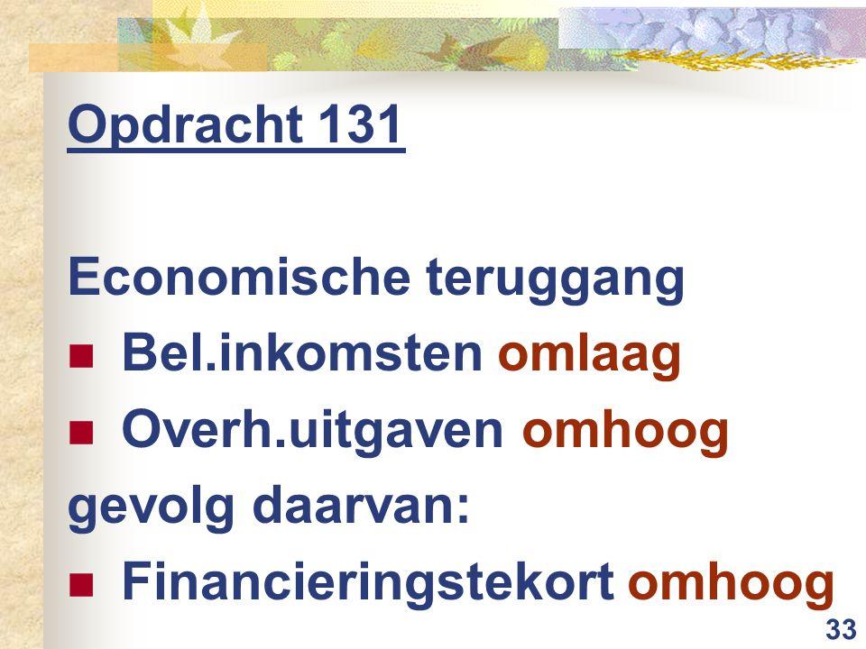 33 Opdracht 131 Economische teruggang Bel.inkomsten omlaag Overh.uitgaven omhoog gevolg daarvan: Financieringstekort omhoog