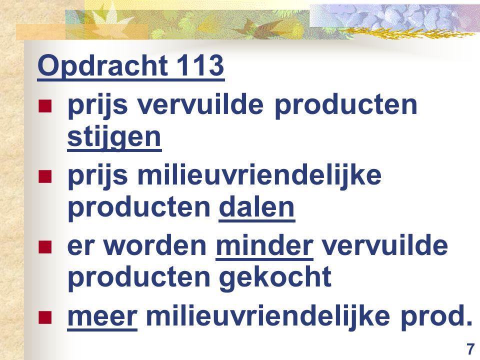 7 Opdracht 113 prijs vervuilde producten stijgen prijs milieuvriendelijke producten dalen er worden minder vervuilde producten gekocht meer milieuvriendelijke prod.