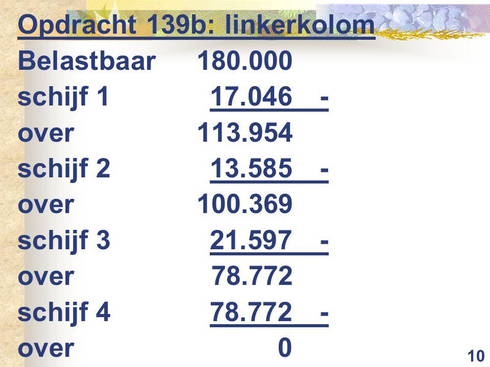 10 Opdracht 139b: linkerkolom Belastbaar 180.000 schijf 117.046- over113.954 schijf 213.585- over100.369 schijf 321.597- over78.772 schijf 478.772- over0