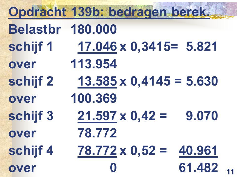 11 Opdracht 139b: bedragen berek. Belastbr 180.000 schijf 117.046x 0,3415=5.821 over113.954 schijf 213.585x 0,4145 =5.630 over100.369 schijf 321.597x