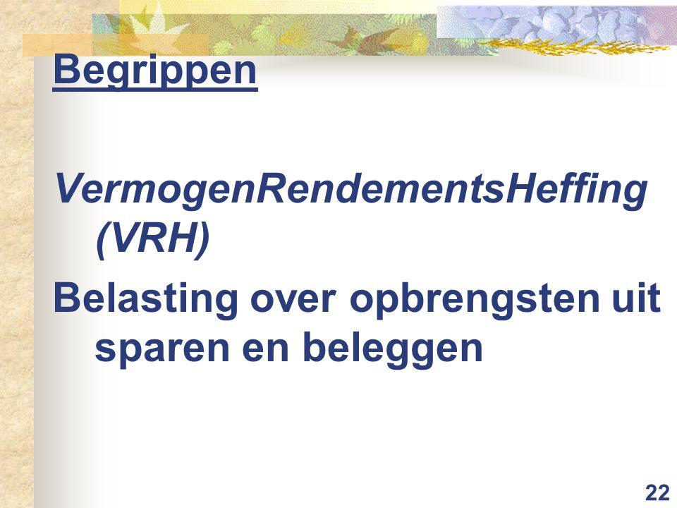 22 Begrippen VermogenRendementsHeffing (VRH) Belasting over opbrengsten uit sparen en beleggen
