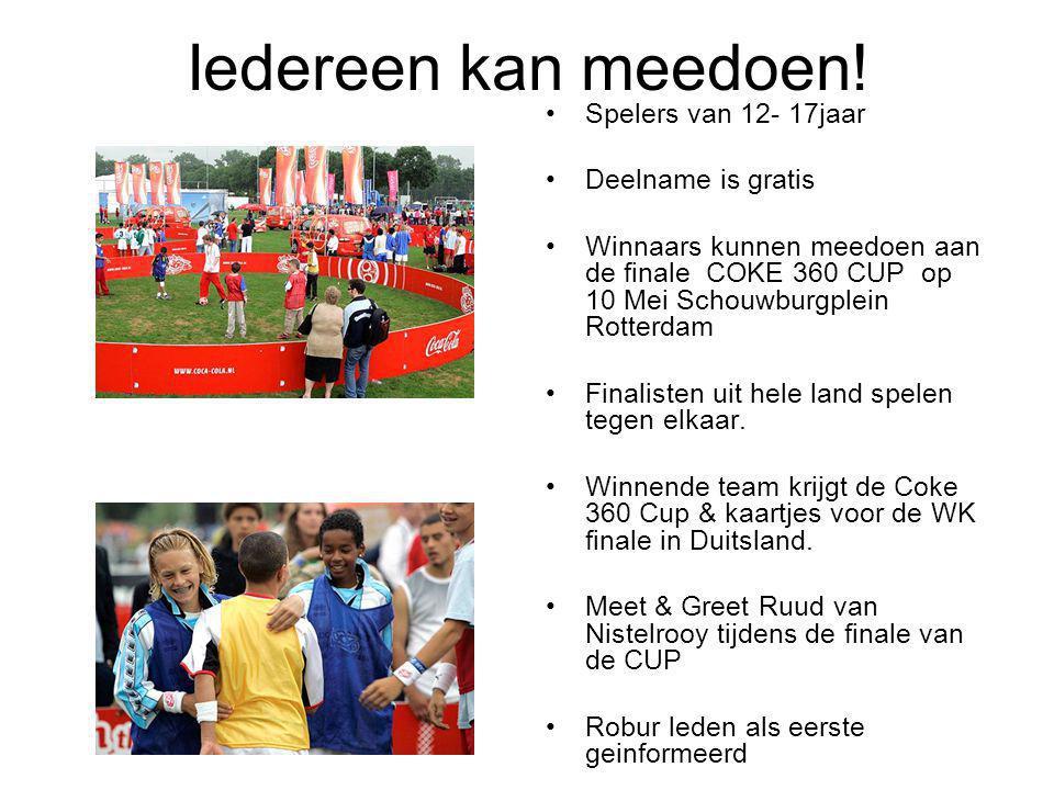 Iedereen kan meedoen! Spelers van 12- 17jaar Deelname is gratis Winnaars kunnen meedoen aan de finale COKE 360 CUP op 10 Mei Schouwburgplein Rotterdam