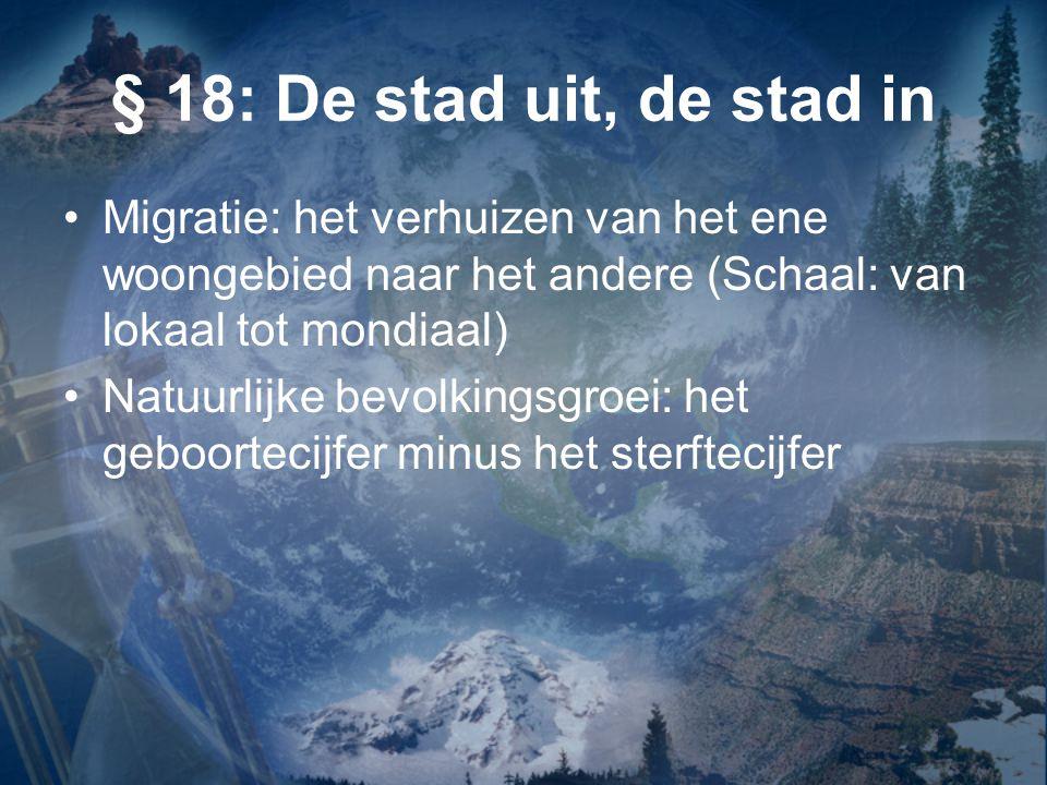 § 18: De stad uit, de stad in Migratie: het verhuizen van het ene woongebied naar het andere (Schaal: van lokaal tot mondiaal) Natuurlijke bevolkingsg