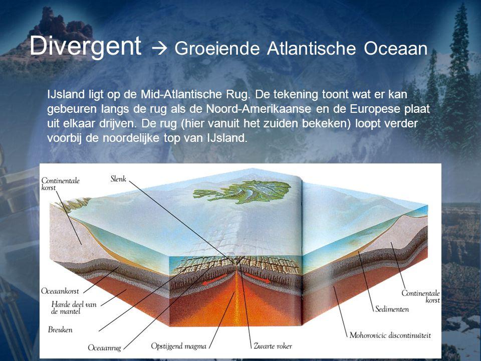 Divergent  Groeiende Atlantische Oceaan IJsland ligt op de Mid-Atlantische Rug.