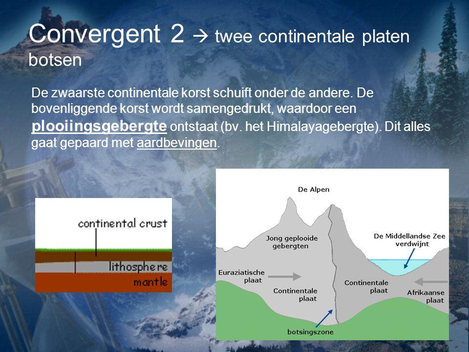 De zwaarste continentale korst schuift onder de andere.