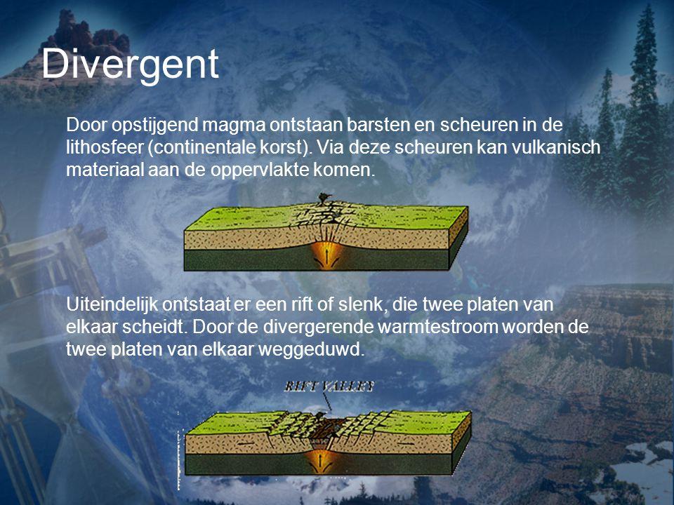 Divergent De twee platen schuiven verder uit elkaarr (= divergerend), de slenk wordt opgevuld met water, zodat een smalle lange zee ontstaat (bv.