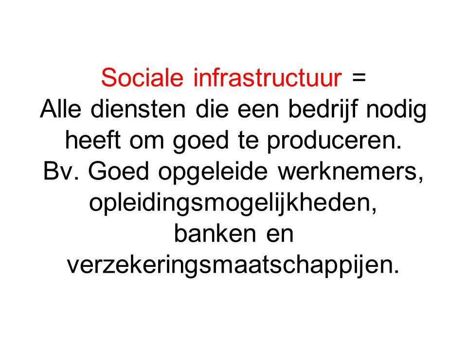 Sociale infrastructuur = Alle diensten die een bedrijf nodig heeft om goed te produceren. Bv. Goed opgeleide werknemers, opleidingsmogelijkheden, bank