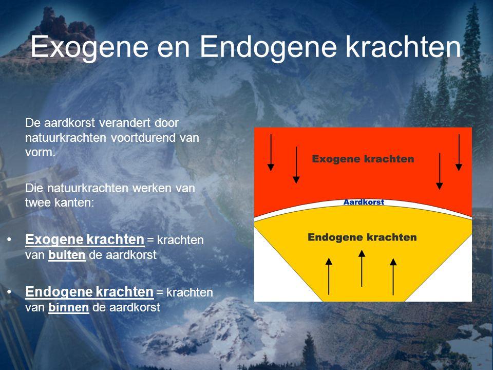 Exogene en Endogene krachten De aardkorst verandert door natuurkrachten voortdurend van vorm. Die natuurkrachten werken van twee kanten: Exogene krach
