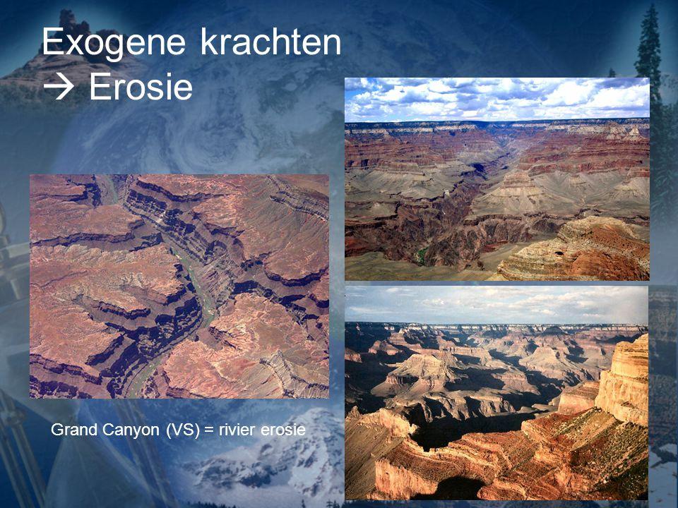 Exogene krachten  Erosie Grand Canyon (VS) = rivier erosie
