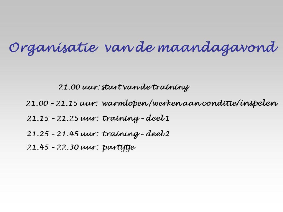 Organisatie van de maandagavond 21.45 – 22.30 uur: partijtje 21.25 – 21.45 uur: training – deel 2 21.15 – 21.25 uur: training – deel 1 21.00 – 21.15 u