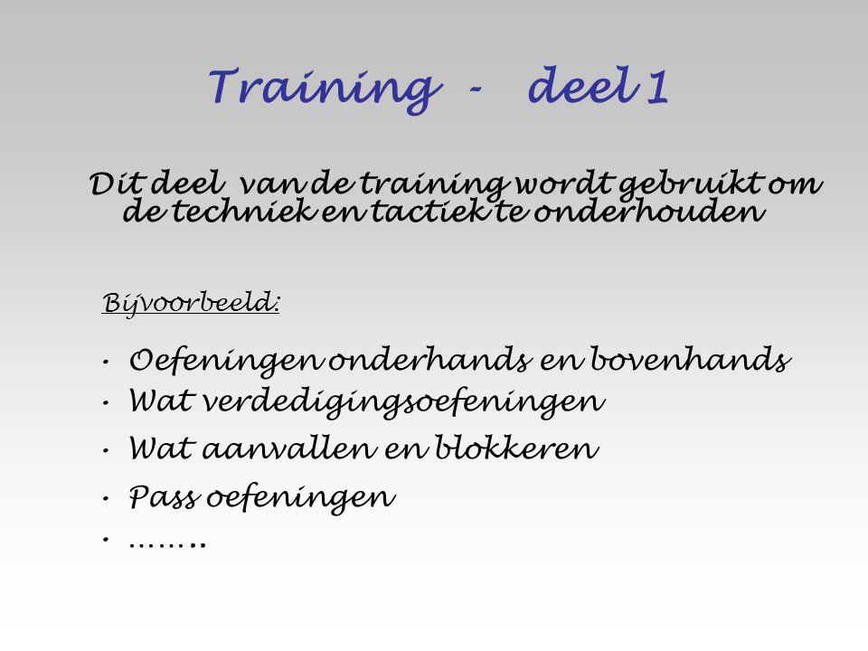 Dit deel van de training wordt gebruikt om de techniek en tactiek te onderhouden Wat aanvallen en blokkeren Oefeningen onderhands en bovenhands Wat ve