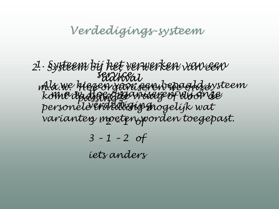 1. Systeem bij het verwerken van een service. 2. Systeem bij het verwerken van een aanval Verdedigings-systeem Als we kiezen voor een bepaald systeem