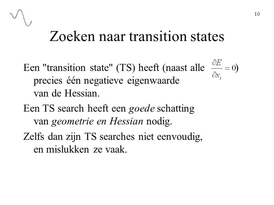 10 Zoeken naar transition states Een transition state (TS) heeft (naast alle ) precies één negatieve eigenwaarde van de Hessian.