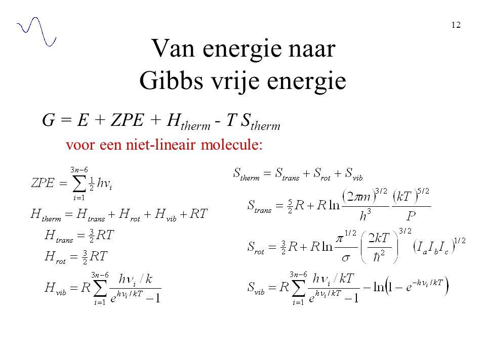 12 Van energie naar Gibbs vrije energie G = E + ZPE + H therm - T S therm voor een niet-lineair molecule: