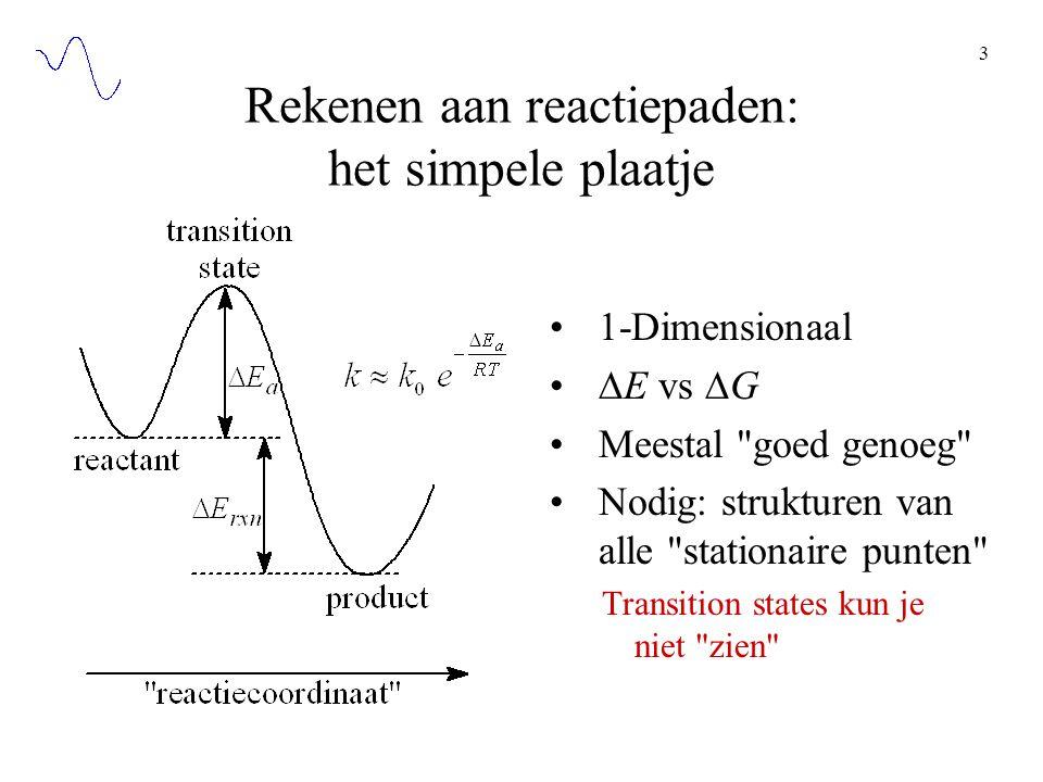 3 Rekenen aan reactiepaden: het simpele plaatje 1-Dimensionaal  E vs  G Meestal goed genoeg Nodig: strukturen van alle stationaire punten Transition states kun je niet zien
