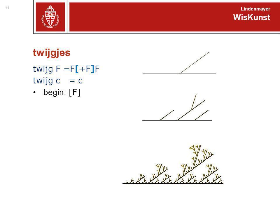twijgjes twijg F =F[+F]F twijg c = c begin: [F] WisKunst Lindenmayer 11
