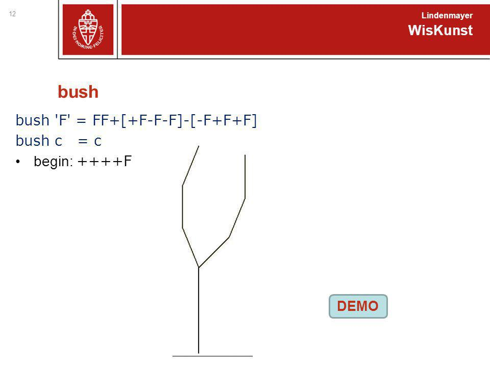 bush bush 'F' = FF+[+F-F-F]-[-F+F+F] bush c = c begin: ++++F WisKunst Lindenmayer 12 DEMO