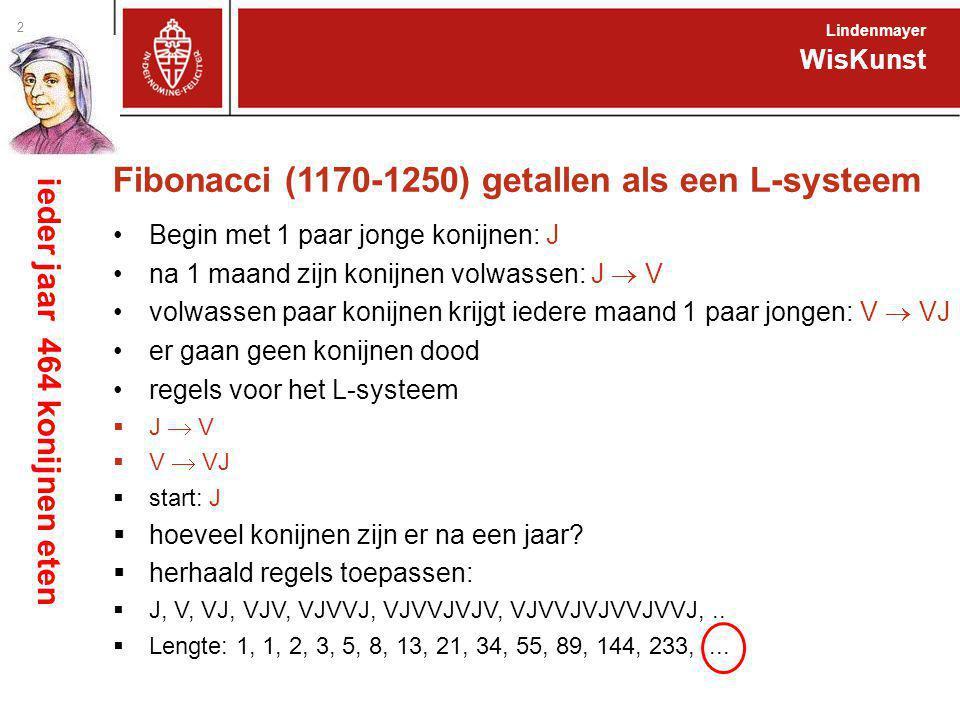Fibonacci (1170-1250) getallen als een L-systeem Begin met 1 paar jonge konijnen: J na 1 maand zijn konijnen volwassen: J  V volwassen paar konijnen krijgt iedere maand 1 paar jongen: V  VJ er gaan geen konijnen dood regels voor het L-systeem  J  V  V  VJ  start: J  hoeveel konijnen zijn er na een jaar.