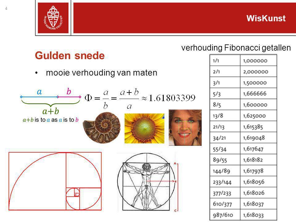 Gulden snede mooie verhouding van maten 4 WisKunst verhouding Fibonacci getallen