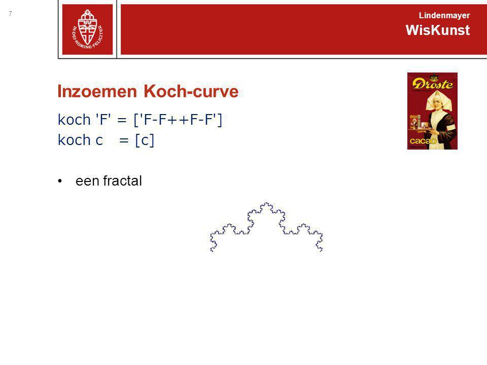 Inzoemen Koch-curve 7 WisKunst Lindenmayer koch 'F' = ['F-F++F-F'] koch c = [c] een fractal