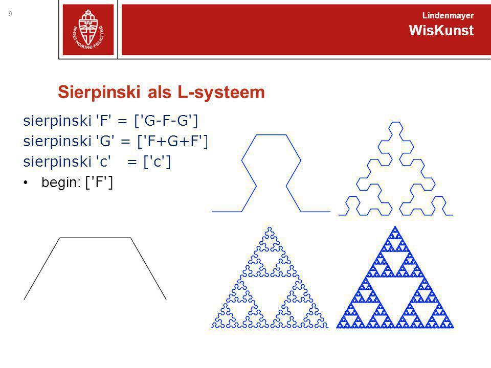 Sierpinski als L-systeem sierpinski 'F' = ['G-F-G'] sierpinski 'G' = ['F+G+F'] sierpinski 'c' = ['c'] begin: ['F'] WisKunst Lindenmayer 9