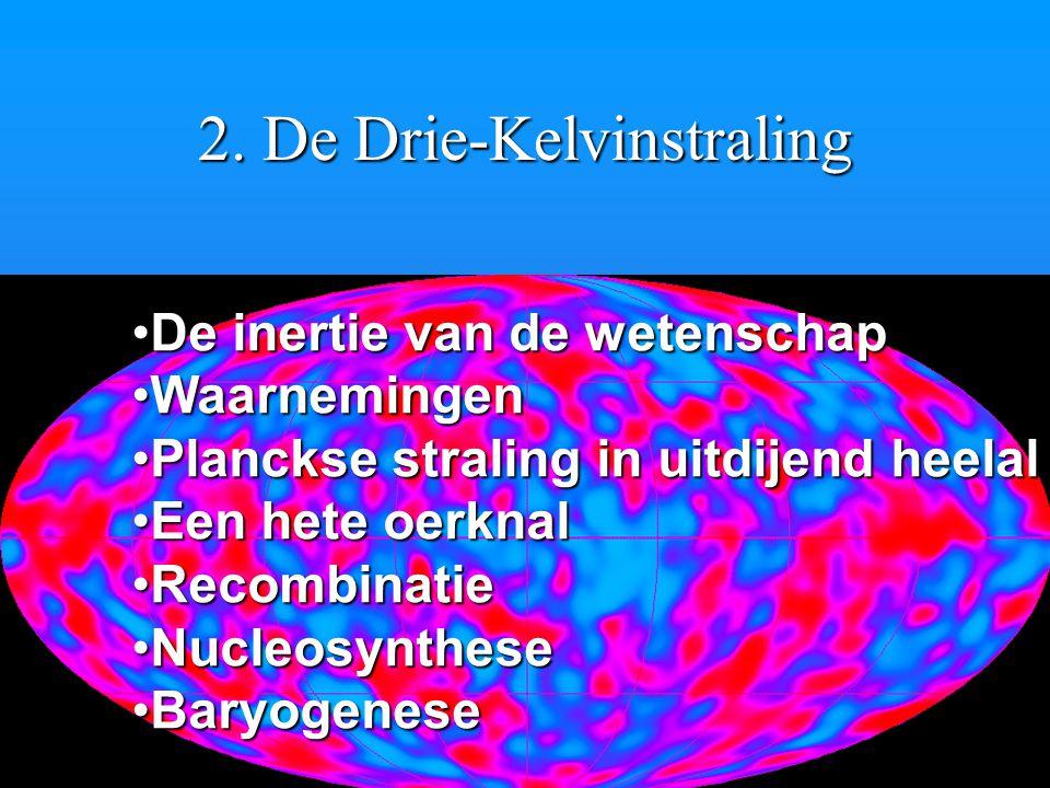 2. De Drie-Kelvinstraling De inertie van de wetenschapDe inertie van de wetenschap WaarnemingenWaarnemingen Planckse straling in uitdijend heelalPlanc