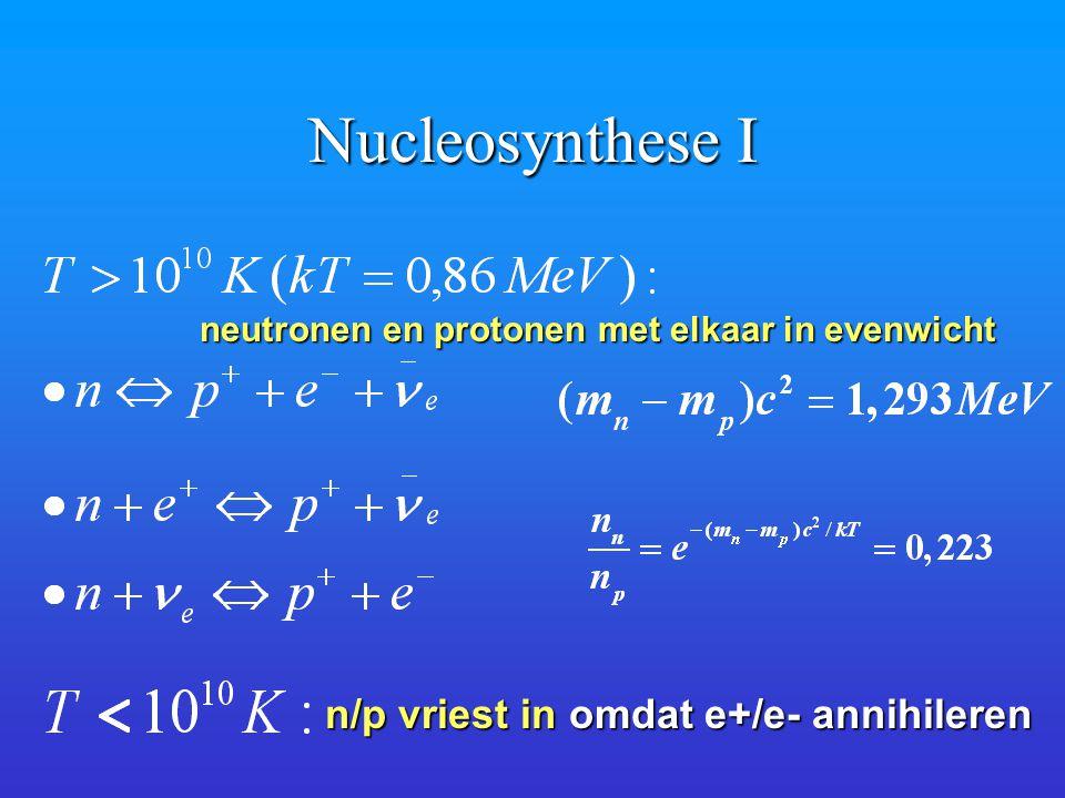 Nucleosynthese I neutronen en protonen met elkaar in evenwicht n/p vriest in omdat e+/e- annihileren