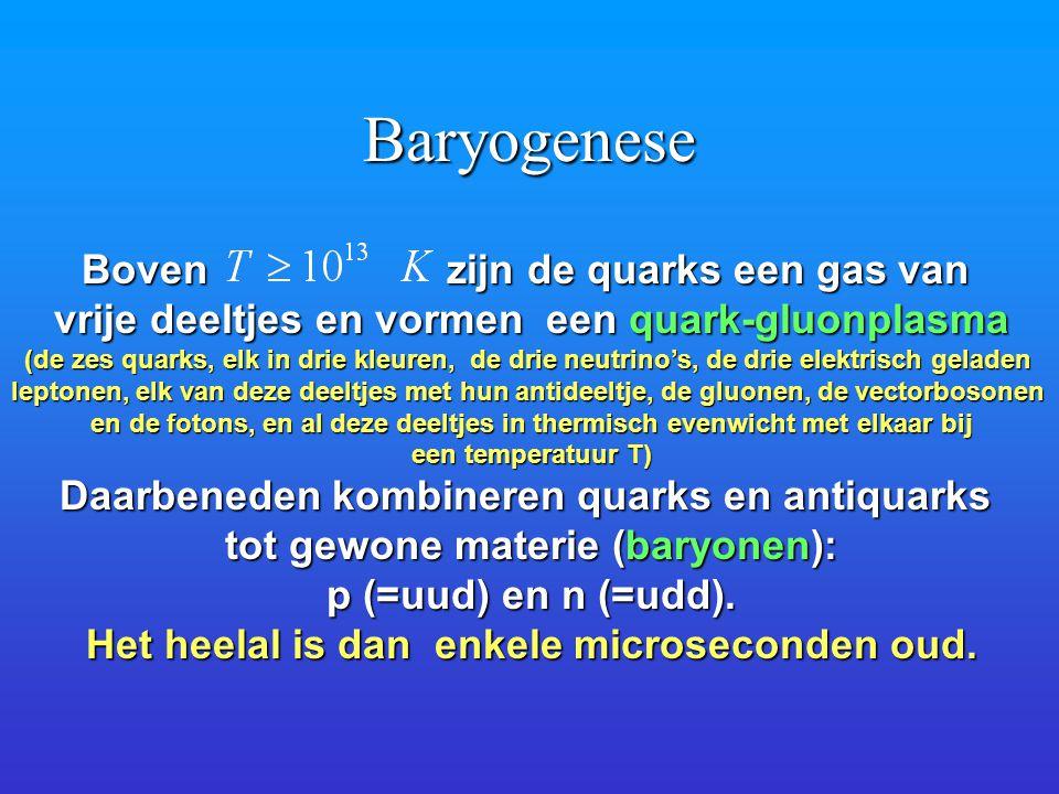 Baryogenese Boven zijn de quarks een gas van vrije deeltjes en vormen een quark-gluonplasma (de zes quarks, elk in drie kleuren, de drie neutrino's, d