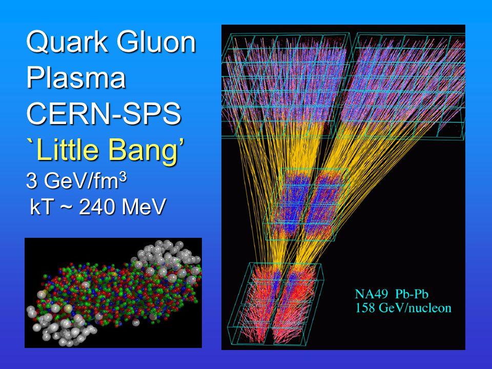 Quark Gluon Plasma CERN-SPS `Little Bang' 3 GeV/fm 3 kT ~ 240 MeV