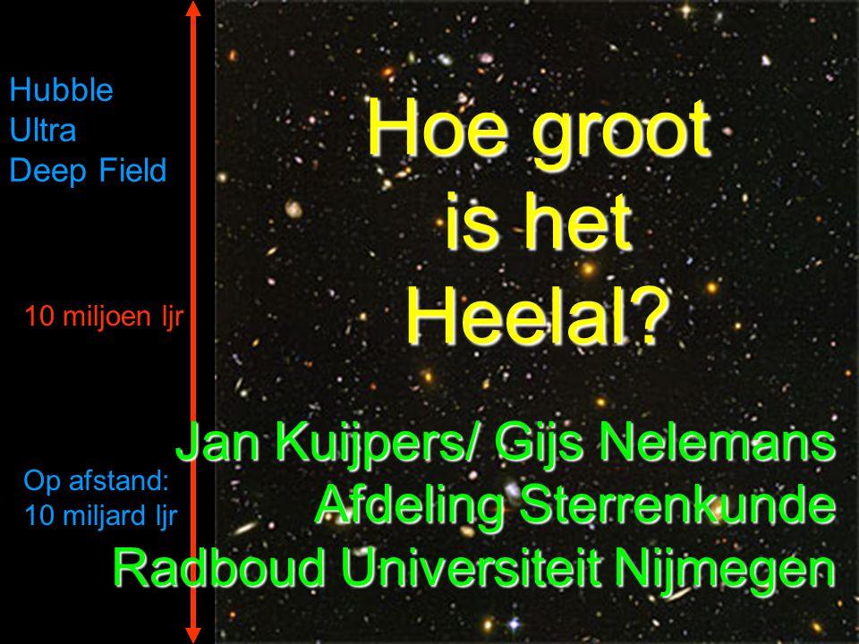 10 miljoen ljr Op afstand: 10 miljard ljr Hubble Ultra Deep Field Hoe groot is het Heelal? Jan Kuijpers/ Gijs Nelemans Afdeling Sterrenkunde Radboud U