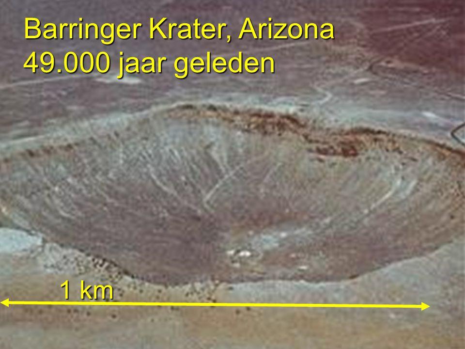 Barringer Krater, Arizona 49.000 jaar geleden 1 km