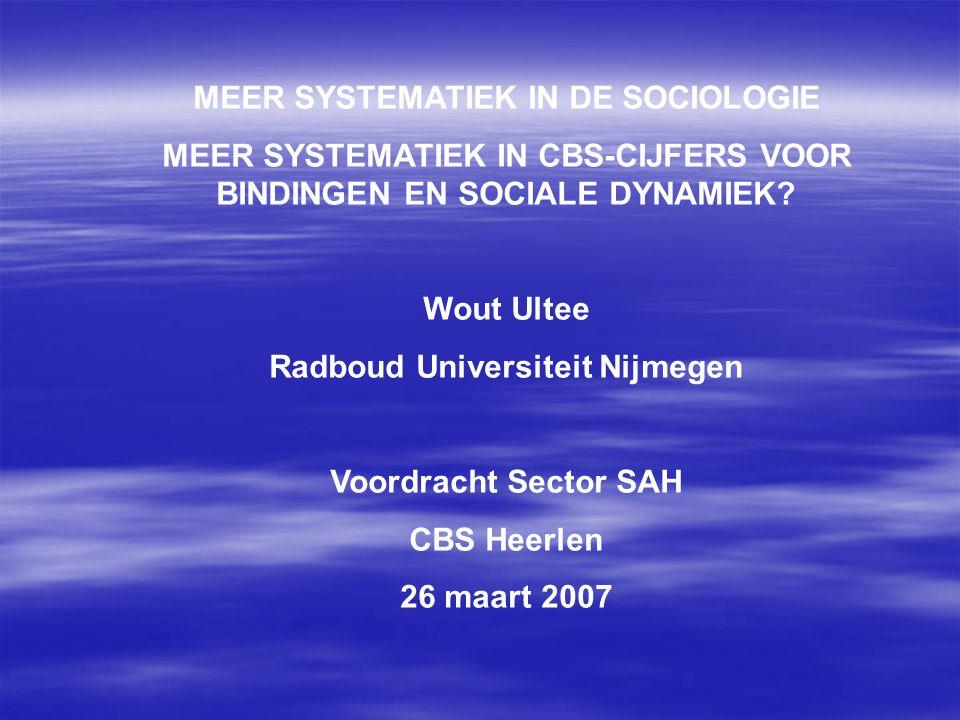 MEER SYSTEMATIEK IN DE SOCIOLOGIE MEER SYSTEMATIEK IN CBS-CIJFERS VOOR BINDINGEN EN SOCIALE DYNAMIEK? Wout Ultee Radboud Universiteit Nijmegen Voordra