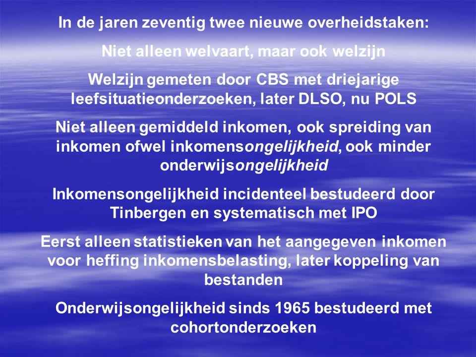In de jaren zeventig twee nieuwe overheidstaken: Niet alleen welvaart, maar ook welzijn Welzijn gemeten door CBS met driejarige leefsituatieonderzoeken, later DLSO, nu POLS Niet alleen gemiddeld inkomen, ook spreiding van inkomen ofwel inkomensongelijkheid, ook minder onderwijsongelijkheid Inkomensongelijkheid incidenteel bestudeerd door Tinbergen en systematisch met IPO Eerst alleen statistieken van het aangegeven inkomen voor heffing inkomensbelasting, later koppeling van bestanden Onderwijsongelijkheid sinds 1965 bestudeerd met cohortonderzoeken