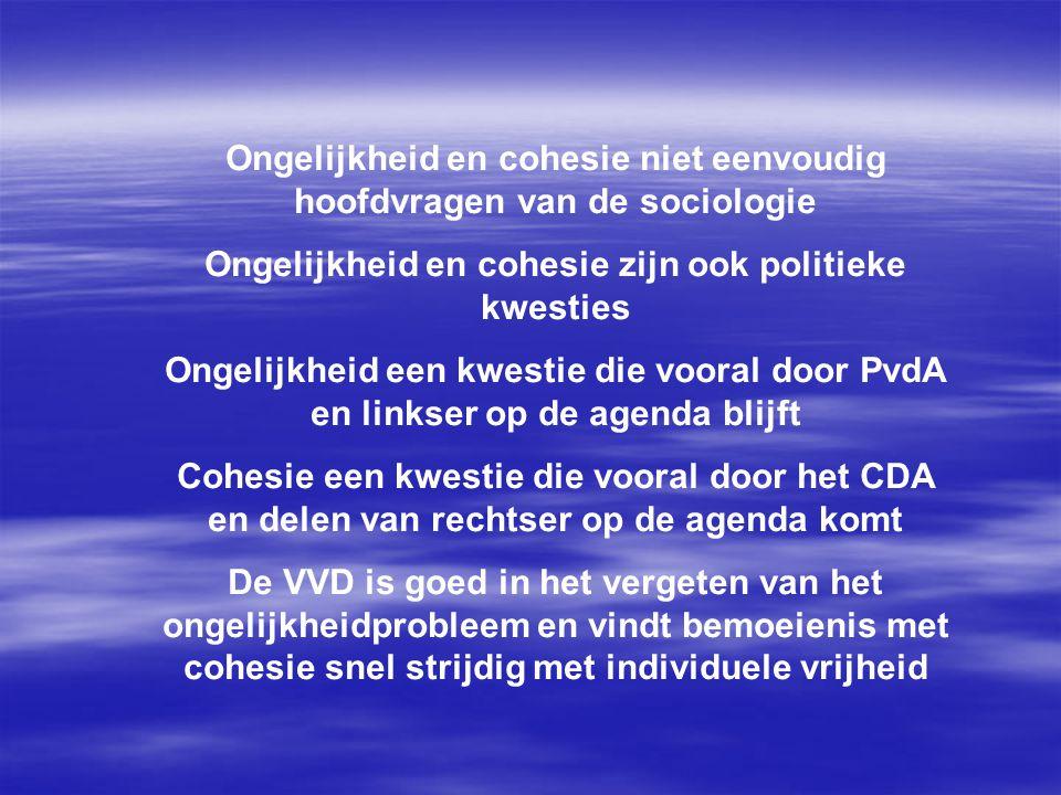 Ongelijkheid en cohesie niet eenvoudig hoofdvragen van de sociologie Ongelijkheid en cohesie zijn ook politieke kwesties Ongelijkheid een kwestie die vooral door PvdA en linkser op de agenda blijft Cohesie een kwestie die vooral door het CDA en delen van rechtser op de agenda komt De VVD is goed in het vergeten van het ongelijkheidprobleem en vindt bemoeienis met cohesie snel strijdig met individuele vrijheid