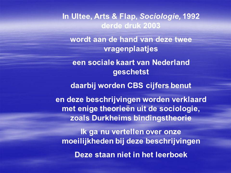 In Ultee, Arts & Flap, Sociologie, 1992 derde druk 2003 wordt aan de hand van deze twee vragenplaatjes een sociale kaart van Nederland geschetst daarbij worden CBS cijfers benut en deze beschrijvingen worden verklaard met enige theorieën uit de sociologie, zoals Durkheims bindingstheorie Ik ga nu vertellen over onze moeilijkheden bij deze beschrijvingen Deze staan niet in het leerboek