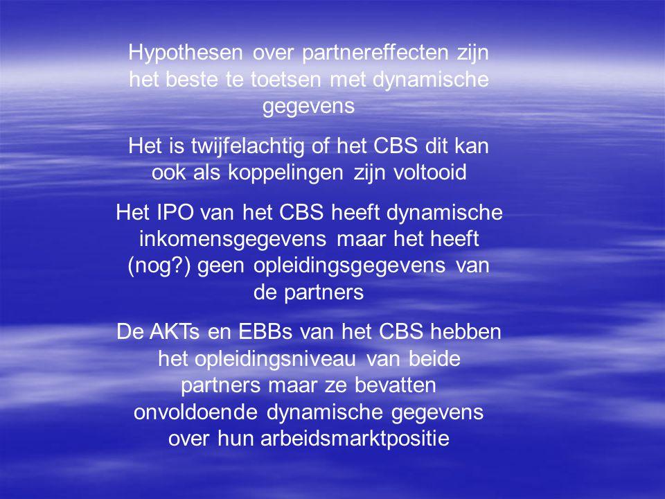 Hypothesen over partnereffecten zijn het beste te toetsen met dynamische gegevens Het is twijfelachtig of het CBS dit kan ook als koppelingen zijn vol