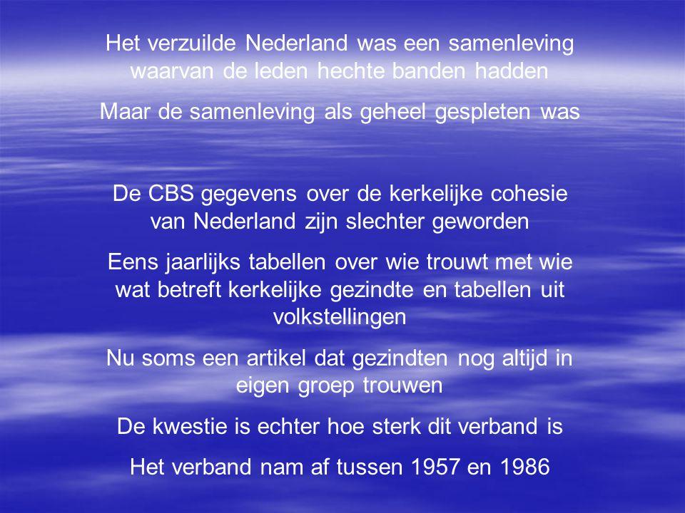 Het verzuilde Nederland was een samenleving waarvan de leden hechte banden hadden Maar de samenleving als geheel gespleten was De CBS gegevens over de kerkelijke cohesie van Nederland zijn slechter geworden Eens jaarlijks tabellen over wie trouwt met wie wat betreft kerkelijke gezindte en tabellen uit volkstellingen Nu soms een artikel dat gezindten nog altijd in eigen groep trouwen De kwestie is echter hoe sterk dit verband is Het verband nam af tussen 1957 en 1986